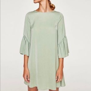 ZARA Green Mint Bell 3/4 Sleeves Shift Dress S